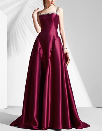 Delicate Beaded Wide Straps Satin Evening Dresses with Side Draped Skirt