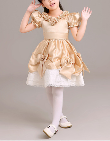 Lovely Flower Round Neckline Short Satin Lace Flower Girl Dresses with Bubble Sleeves