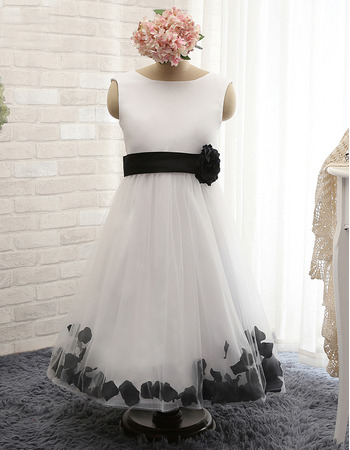 Latest Sleeveless Ankle Length Tulle Flower Girl Dresses with Petals and Hand-made Flowers