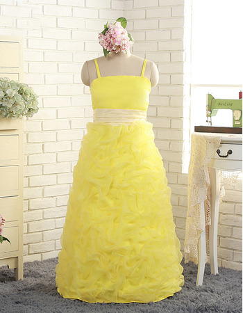 Pretty Spaghetti Straps Full Length Pick-up Yellow Little Girls Party Dresses with Ruched