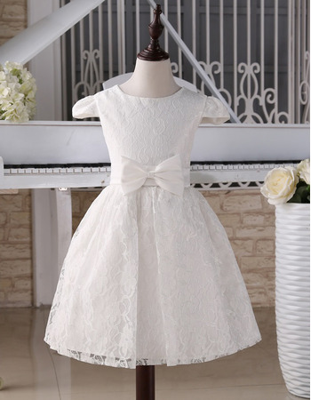 89509bfccfcc Discount Knee Length Lace First Communion Dresses with Cap Sleeves/ Cute  Flower Girl Dresses with Satin Waistband - US$ 94.99 - BuyBuyStyle.com