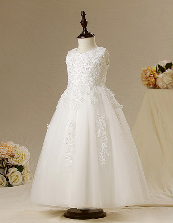 Romantic Ball Gown Sleeveless Ankle Length First Communion Dresses/ Modern Flower Girl Dresses with Appliques Beaded