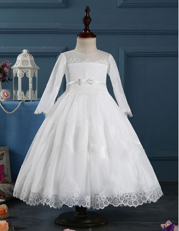 lovely tea length first communion dresses with long sleeves vintage