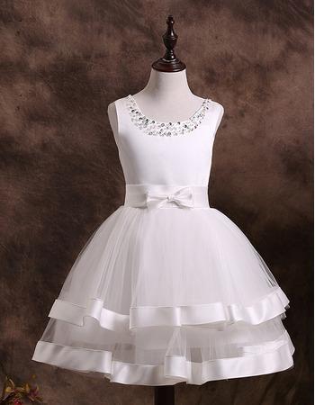 Custom Made Ball Gown Short First Communion Dresses/ Beaded Neck Two Layered Satin Tulle Flower Girl Dresses