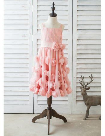 Pretty Wide Straps Pleated Chiffon Easter/ Spring Little Girl Dress with Handmade Flowers