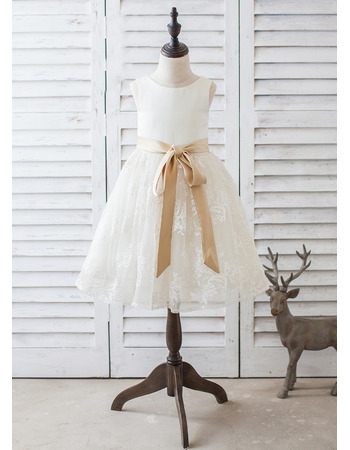 Lovely Affordable Scoop Neck Knee Length Lace Skirt Flower Girl Dresses with Sashes