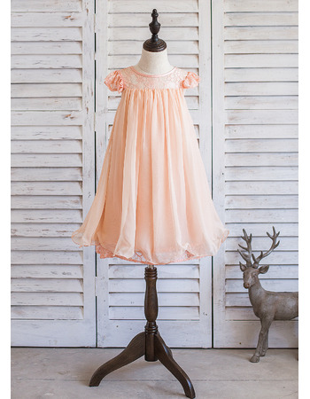 Lovely Cap Sleeves Knee Length Chiffon Lace Easter Little Girl Dress with Key and Pleated