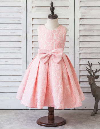 Lovely Ball Gown Tea Length Pleated Skirt Lace Flower Girl Dresses with Bows