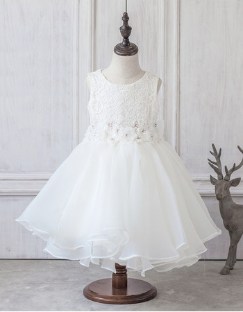 Pretty Ivory Ball Gown Tea Length Lace Organza Flower Girl Dresses with Crystal Beading