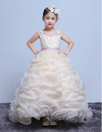 Gorgeous Long Train Ruffle Skirt Organza Flower Girl Dresses with Belts and Beading