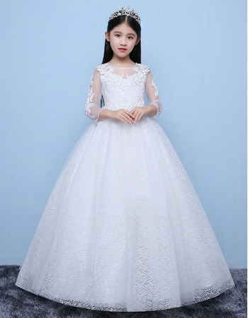 Sweet White Ball Gown Full Length Lace Tulle Flower Girl Dress with Long Sleeves