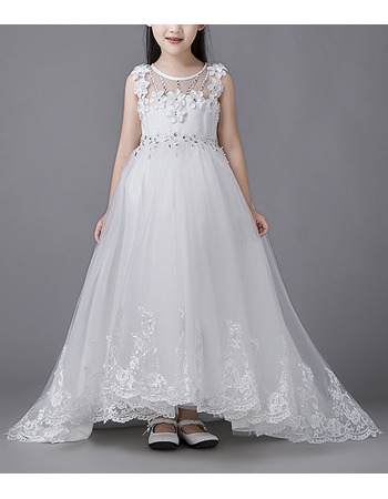 Gorgeous Sleeveless High-Low Sweep Train Organza Flower Girl Dresses / Pretty Crystal Beading First Communion Dresses