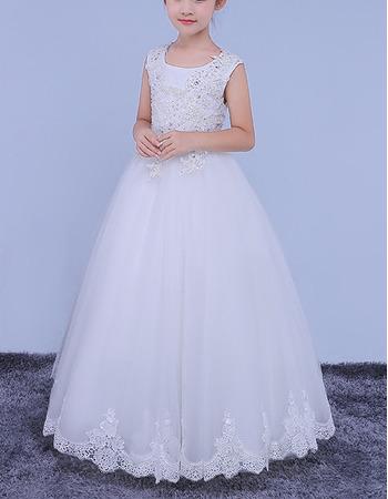 Pretty Luxury Beaded Appliques White Ball Gown Full Length Open Back Flower Girl Dresses/
