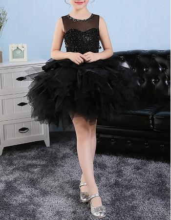 Luxury Beaded Ball Gown Illusion Neckline Sleeveless Short Black Bubble Skirt Little Girls Party Dresses