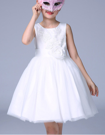 Discount Ball Gown Mini/ Short Appliques White Satin Tulle Flower Girl Dresses with Flower Waistband