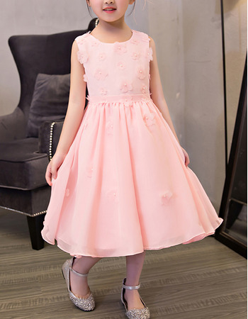 Lovely Beautiful A-Line Tea Length Beaded Pleated Chiffon Applique Summer Flower Girl Dresses with Petal Detailing