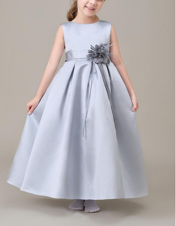 Affordable Sleeveless Ankle Length Satin Flower Girl Dresses