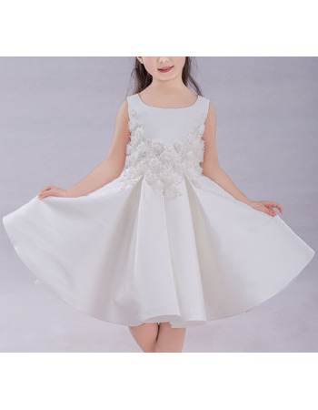 Cute Beautiful A-Line Knee Length Pleated Satin Flower Girl Dresses with Appliques Handmade Flowers