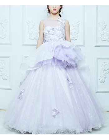 Amazing Perfect Ball Gown Illusion Neckline Full Length Appliques Lace Tulle Little Girls Party Dresses with with Layered Draped