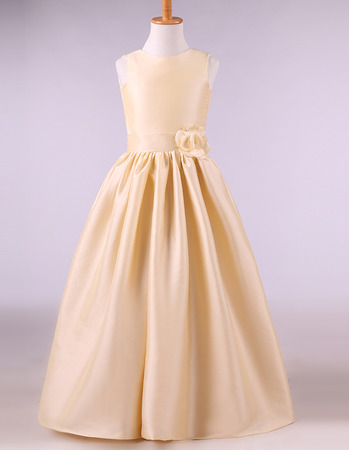 Simple Cute Ball Gown Full Length Ruching Satin Flower Girl Dresses with Handmade Flowers