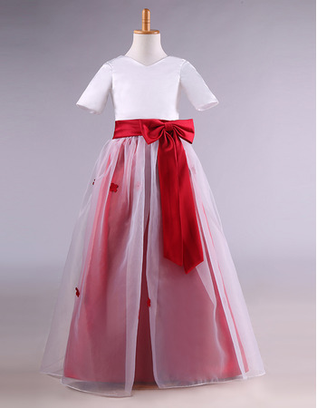Discount Two Clolor Full Length Satin Organza Flower Girl Dresses with Half Sleeves and Petal Detailing