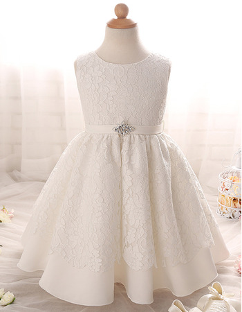 Cute Discount Round Neck Full Length Lace Ivory Flower Girl/ First Communion Dresses
