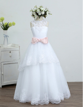 Discount Pretty A-Line Long Length Organza Flower Girl/ First Communion Dresses with Layered Draped High-Low Skirt