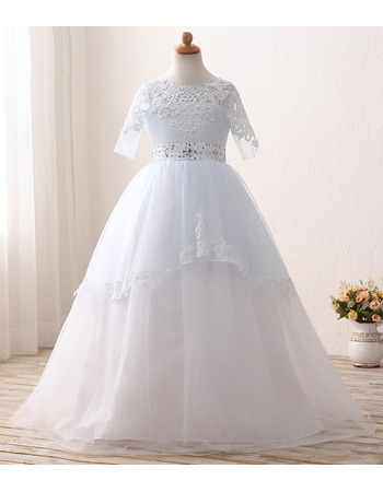 Classy Beaded Waist Ball Gown Flower Girl/ First Communion Dress with Half Sleeves and Layered Draped High-Low Skirt