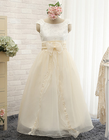 Beautiful Bateau Neck Full Length Satin Organza Embroidery Flower Girl Dresses with Pleated Waist