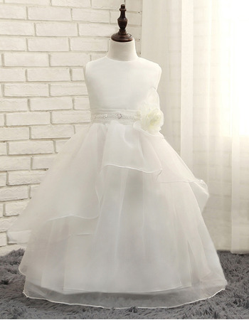 Cut Floor Length Bead Waist Organza Flower Girl/ First Communion Dresses with Layered Draped High-Low Skirt