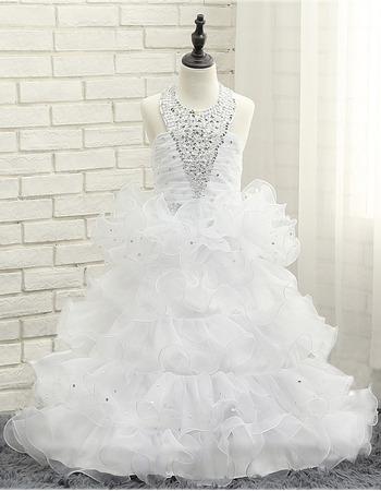 Amazing Gorgeous Halter Floor Length Ruffled Layered Skirt Little Girls Party Dresses