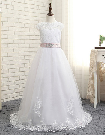 Affordable Slight Cap Sleeves Floor Length Lace Tulle White Flower Girl/ First Communion Dresses