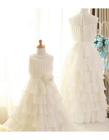 Pretty Long Length Lace Chiffon Layered Skirt Flower Girl Dresses with Handmade Flowers