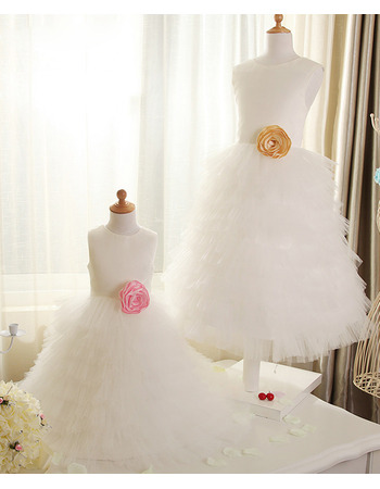 Discount Cute A-Line Satin Tulle Layered Skirt Flower Girl/ First Communion Dress with Handmade Flowers