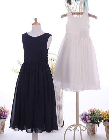 Simple Discount Sleeveless Tea Length Satin Chiffon Flower Girl Dresses with Handmade Flowers