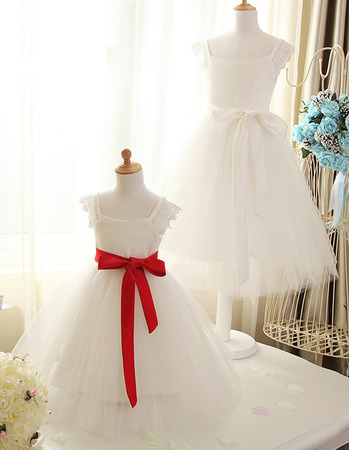 Discount A-Line Square Neck Tea Length Satin Tulle Flower Girl Dresses with Sashes