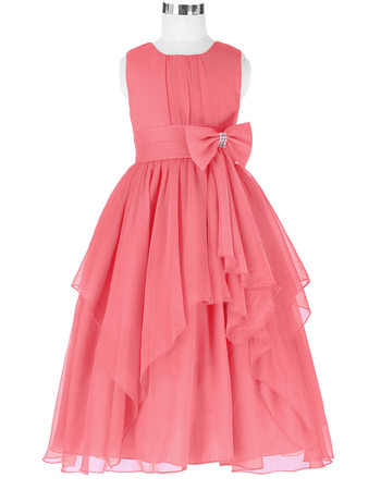Affordable Ball Gown Tea Length Chiffon Chiffon Little Girls Party Dresses with Layered Draped High-Low Skirt