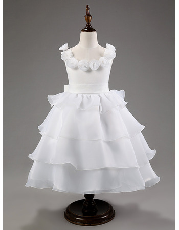 Pretty Ball Gown Tea Length Layered Skirt Organza Flower Girl/ White Perfect First Communion Dresses
