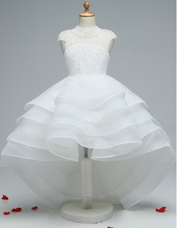 Fashionable High-Low Lace Organza Tiered Skirt Little Girls Party Dresses/ White Open Back Flower Girl Dresses
