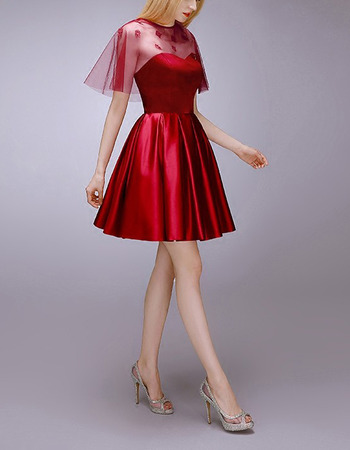 Affordable A-Line Sweetheart Short Satin Homecoming Dresses with Wraps