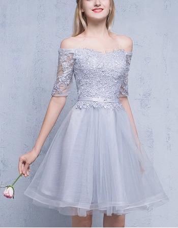 Elegant Off-the-shoulder Short Homecoming Dresses with Half Sleeves