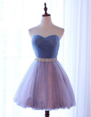 Beautiful Sweetheart Short Tulle Homecoming Dresses with Ruched Bodice and Beaded Waist