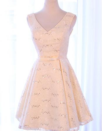 Custom V-Neck Sleeveless Short Satin Lace Homecoming/ Party Dresses