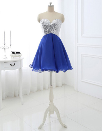 Inexpensive A-Line Sweetheart Short Lace Chiffon Homecoming Dresses