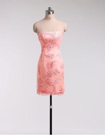 Sexy Sheath Strapless Sleeveless Short Lace Homecoming Dresses