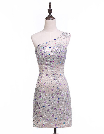 Sheath One Shoulder Short Rhinestone Homecoming Dresses