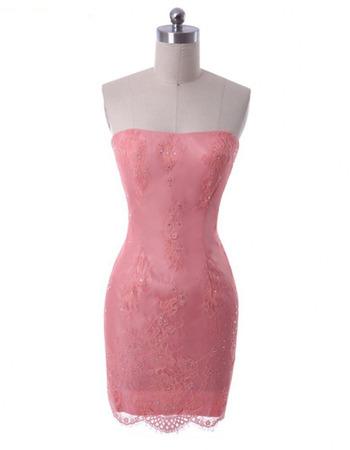 Custom Sheath Strapless Short Satin Embroidery Homecoming Dresses