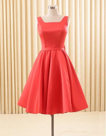 Elegant A-Line Square Knee Length Satin Homecoming/ Party Dresses