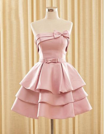 New Strapless Short Satin Layered Skirt Homecoming Dresses