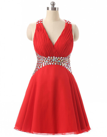 Sexy V-Neck Sleeveless Short Chiffon Rhinestone Homecoming Dresses